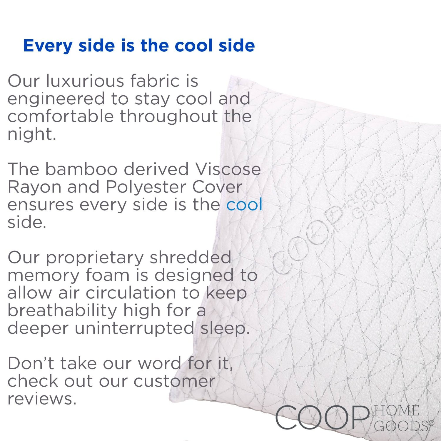 photo gallery coop home goods adjustable shredded memory foam bamboo pillow