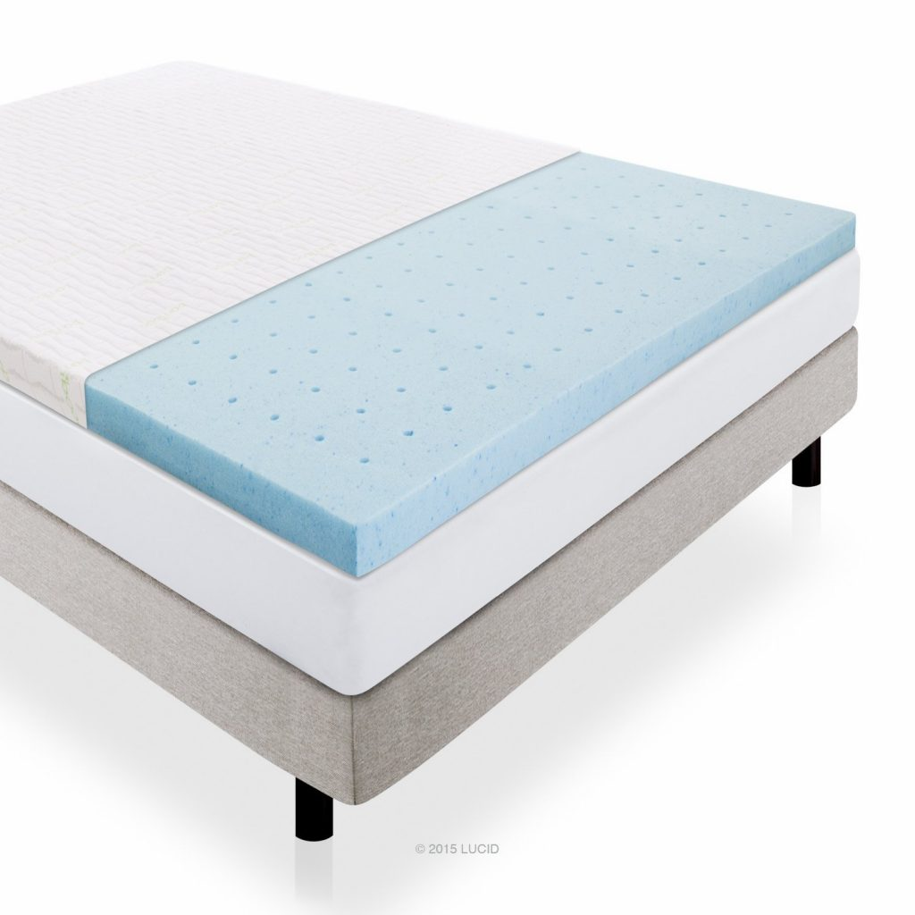LUCID 2.5-Inch Gel infused ventilated memory foam mattress topper and removable bamboo cover - bamboo mattress