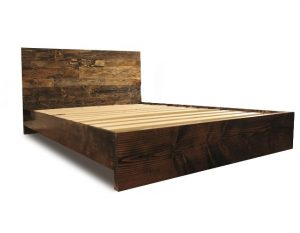 Fancy nd Pereida Rice Woodworking Wooden Platform Bed Frame and Headboard
