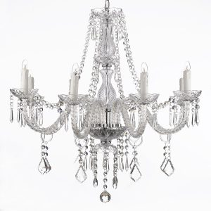 Perfect A beautiful crystal chandelier with lights in a polished steel finish this light will grace any home with style and panache You will need to assembly