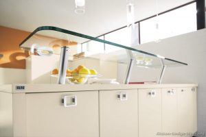 Kitchen glass shelves